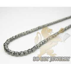 Ladies 14k Black Gold Diamond Cut Bead Necklace 2mm 18 Inch