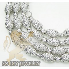Ladies 14k White Gold Diamond Cut Oval Bead Necklace 4mm 16-24 Inch