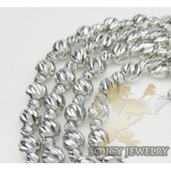Ladies 14k White Gold Diamond Cut Bead Necklace 4mm 18 Inch