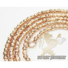 Ladies 14k  Rose Gold Diamond Cut Bead Necklace 1.8mm 16-24 Inch