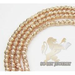 Ladies 14k Rose Gold Diamond Cut Ball Necklace 2mm 16-24 Inch
