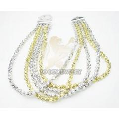 5 Row 14k Two Tone Diamond Cut Bead Italian Gold Bracelet