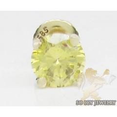 0.75ct 14k Yellow Gold round Cut Diamond Canary Earring