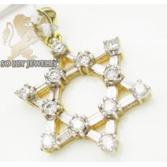 14k Yellow Gold Diamond Star Of David Mini Pendant 0.70ct