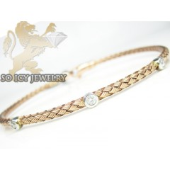 14k Rose Gold Basket Weave Round Diamond Bracelet