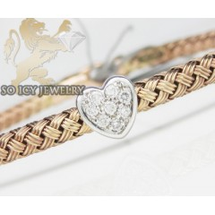 14k Rose Gold Basket Weave Diamond Heart Bracelet