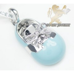 14k White Gold Baby Blue Enamel Diamond Baby Shoe Pendant 0.01ct