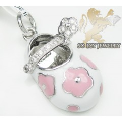 14k White & Pink Enamel Diamond Baby Shoe Pendant 0.08ct