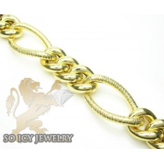 14k Yellow Gold Diamond Cut Xl Figaro Link Bracelet 12mm