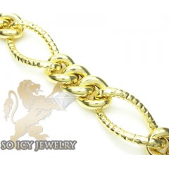 14k Yellow Gold Diamond Cut Xl Figaro Link Bracelet 20mm