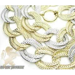14k Two Tone Gold Diamond Cut Xl Cuban Link Necklace 20mm