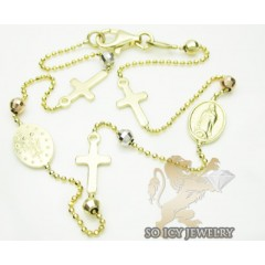 14k tri color gold jesus & cross rosary ankle bracelet 2.50mm