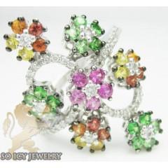 14k White Gold Diamond Rainbow Flower Ring 1.55ct