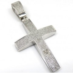 Mens 10k White Gold Round Diamond Pave Cross 2.50ct