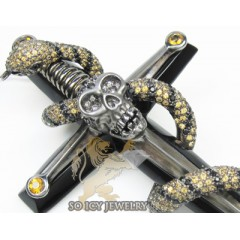 14k Black Gold & Passion Diamond Snake & Skull Cross 8.20ct
