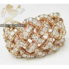 Ladies 18k Rose Gold Diamond Basket Weave Band  1.11ct