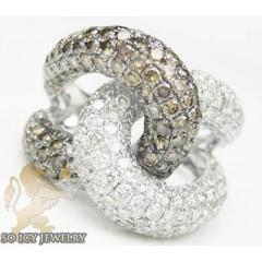 Ladies 18k White Gold Champagne & White Diamond Double Loop Band 4.31ct