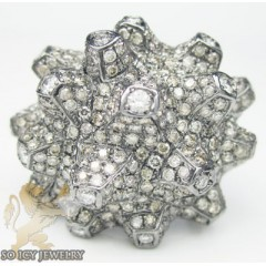 Ladies 18k Black Gold Champagne & White Diamond Volcano Ring 2.86ct