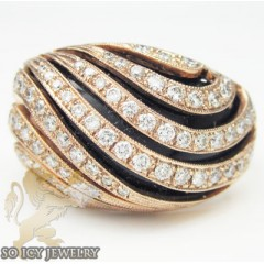 Ladies 18k Rose Gold Round Diamond Black Onyx Swirl Ring 0.85ct