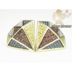 10k Yellow Gold Diamond Shape Red Blue Canary & White Diamond Earrings 0.70ct