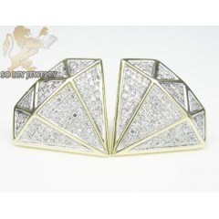 10k Yellow Gold Diamond Shape White Diamond Earrings 0.70ct