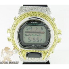 Mens Diamond Canary G-shock Watch 4.00ct