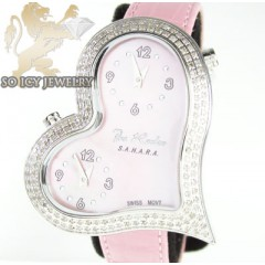 Ladies Joe Rodeo Diamond Watch Pink Sahara Heart 1.40ct
