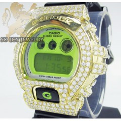 Mens 10k yellow gold g-shock diamond watch 7.00ct