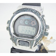 Mens Diamond Blue & White G-shock Watch 4.00ct