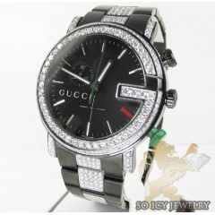 Diamond Gucci G Watch Black Stainless Steel  4.40 Ct
