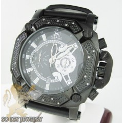 Mens Diamond Techno Master Black Stainless Steel Super Xl Watch 0.20ct