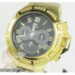 Mens Diamond Techno Master Yellow Stainless Steel Watch 1.00cct