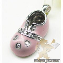 Diamond Baby Shoe Pendant 14k White Gold Pink Enamel 0.10ct