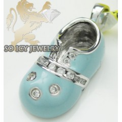 Diamond Baby Shoe Pendant 14k White Gold Baby Blue Enamel 0.10ct