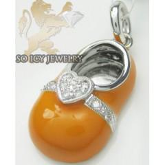 Diamond Heart Baby Shoe Pendant 14k White Gold Orange  Enamel 0.07ct