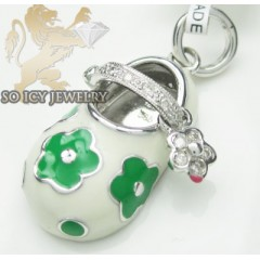Diamond Baby Shoe Pendant 14k White Gold White & Green Flower Enamel 0.07ct