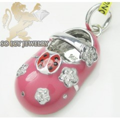 Diamond Baby Shoe Pendant 14k White Gold Pink Ladybug & Flower Enamel 0.03ct