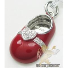 Diamond Heart Baby Shoe Pendant 14k White Gold Red Enamel 0.07ct