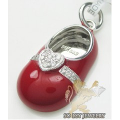 Diamond Heart Baby Shoe Pendant 14k White Gold Red Enamel 0.07ct
