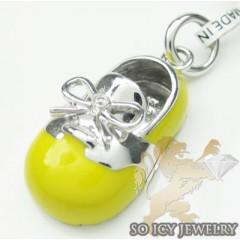Diamond Baby Shoe Pendant 14k White Gold Yellow Enamel 0.01ct