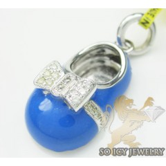 Diamond Baby Shoe Pendant 14k White Gold Blue Enamel 0.13ct