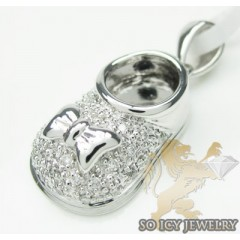Diamond Baby Shoe Pendant 14k White Gold 0.16ct