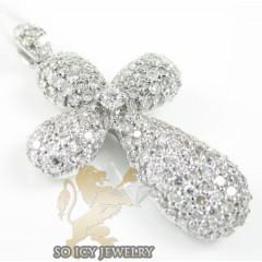 Ladies 18k White Gold Diamond Pave Cluster Cross 1.07ct