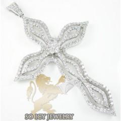 Ladies 18k White Gold Round Diamond Wave Flower Cross 1.17ct