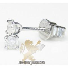 Unisex 14k White Gold Round Cut Diamond Studs 0.40ct