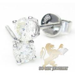 Unisex 14k White Gold Round Cut Diamond Studs 0.93ct