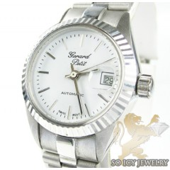 Womens 18k White Gold Gerard Petit Automatic Watch