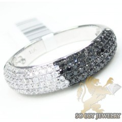 14k White Gold Black & White  Diamond Pave Wedding Band 0.85ct