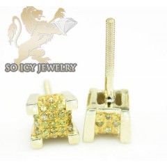 10k Yellow Gold diamond 3-d Ice Cubes Earrings 0.30ct