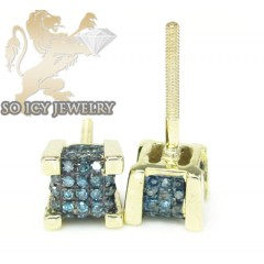 10k Yellow Gold diamond 3-d Ice Cubes Earrings 0.25ct